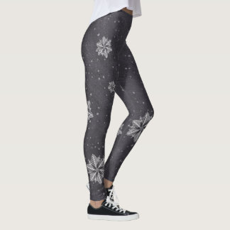 """Baby it's cold outside"" Snowflakes on chalkboard Leggings"