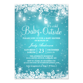Baby Its Cold Outside Turquoise Winter Baby Shower Card