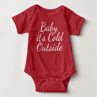 Baby its cold outside - white on red baby bodysuit