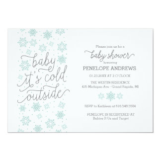 """Baby It's Cold Outside Winter Baby Shower 5"""" X 7"""" Invitation Card"""