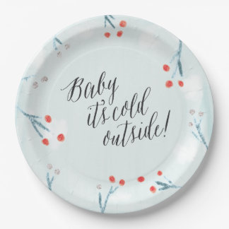"""Baby it's cold outside!"" Winter Baby Shower Plate"