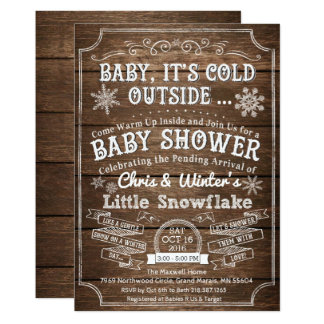 Baby Its Cold Outside Wood Baby Shower Invitation