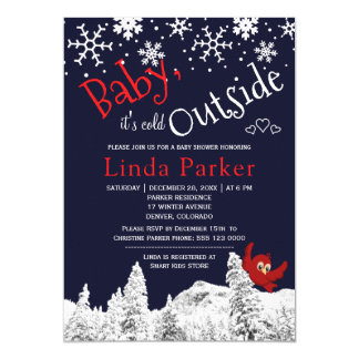Baby its cold outside woodland snow winter shower card