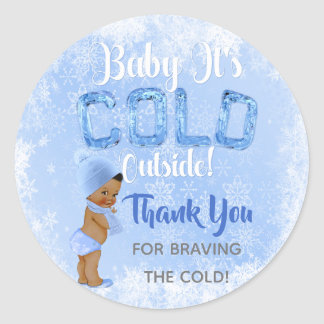Baby It's Cold Snowflake Blue Ethnic Boy Shower Classic Round Sticker