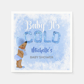 Baby It's Cold Snowflake Blue Ethnic Boy Shower Paper Napkin
