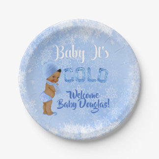 Baby It's Cold Snowflake Blue Ethnic Boy Shower Paper Plate