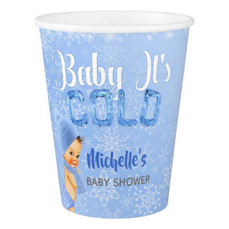 Baby It's Cold Winter Snowflake Blue Boy Shower Paper Cup