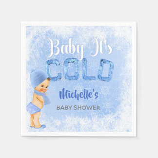 Baby It's Cold Winter Snowflake Blue Boy Shower Paper Napkin