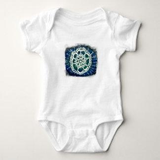 Baby Jersey Bodysuit White mandala blue background