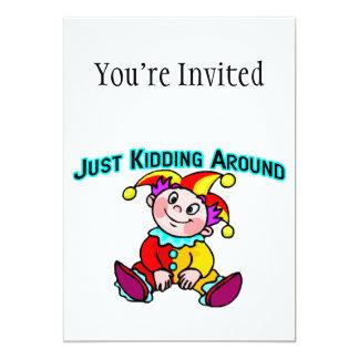 "Baby Jester Just Kidding Around 5"" X 7"" Invitation Card"