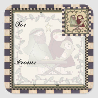 Baby Jesus Christmas Gift Tag Sticker