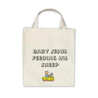 Baby Jesus Feeding His Sheep Grocery Tote Bag