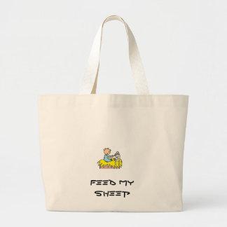 Baby Jesus Feeding His Sheep Large Tote Bag