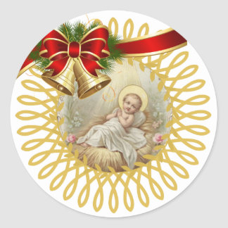 Baby Jesus Manger Christmas Bells Ribbon Classic Round Sticker