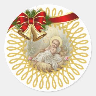Baby Jesus Manger Christmas Bells Ribbon Classic Round Sticker