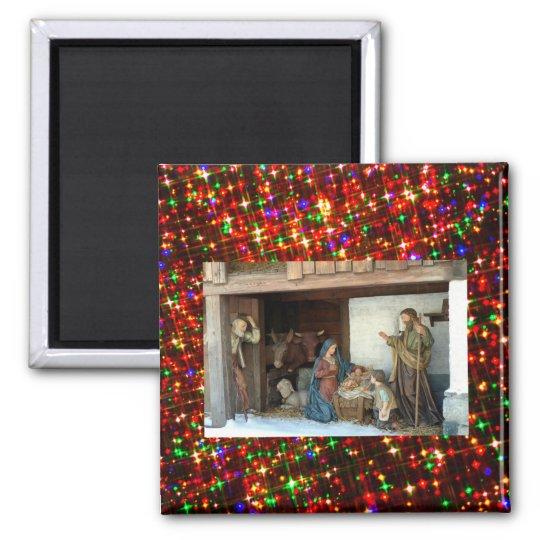 Baby Jesus, Mary and Joseph Nativity Magnet