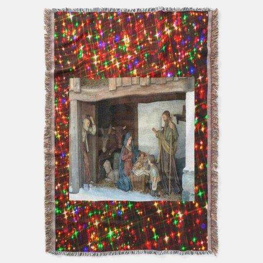 Baby Jesus, Mary and Joseph Nativity Throw Blanket
