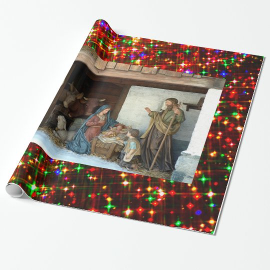 Baby Jesus, Mary and Joseph Nativity Wrapping Paper