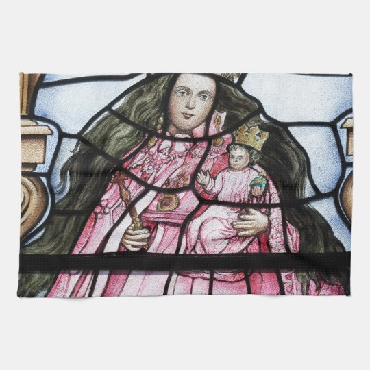 Baby Jesus nativity stained glass window Kitchen Towels
