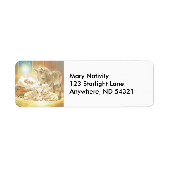 Baby Jesus Nativity with Lambs and Donkey Return Address Label