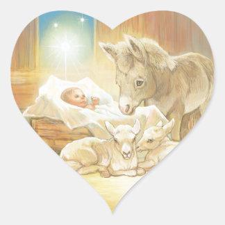 Baby Jesus Nativity with Lambs and Donkey Heart Sticker