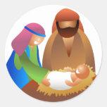 Baby Jesus Round Stickers