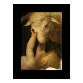 Baby Jesus Touches Lamb Postcard