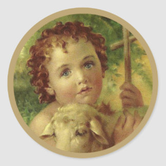 Baby Jesus with Cross & Lamb Round Sticker