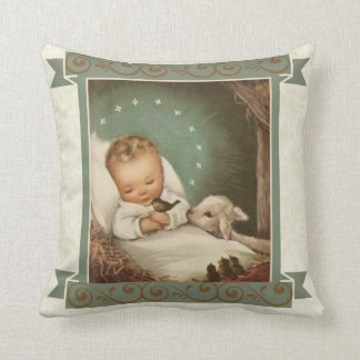 Baby Jesus with lamb & bird in manger Throw Pillow