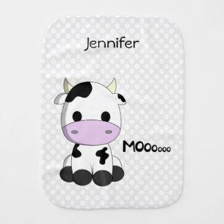 Baby kawaii cow cartoon with baby name burp cloth