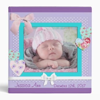 Baby Keepsake Binder Scrapbook Purple and Aqua