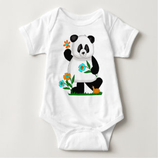 Baby Kids Panda With Flowers 2 Baby Bodysuit