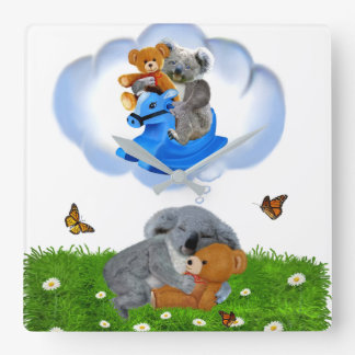 BABY KOALA BEAR DREAMS SQUARE WALL CLOCK