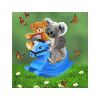 BABY KOALA BEAR ROCKS CANVAS PRINT