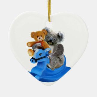 BABY KOALA BEAR ROCKS CERAMIC ORNAMENT