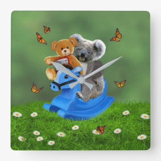 BABY KOALA BEAR ROCKS SQUARE WALL CLOCK
