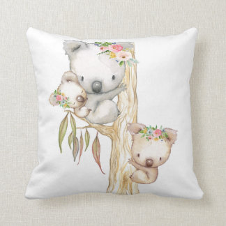 Baby Koala Watercolor Boho Girl Nursery Pillow