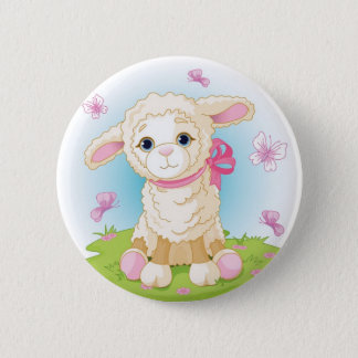 Baby Lamb 2 Inch Round Button