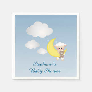Baby Lamb, Moon and Clouds Disposable Napkins