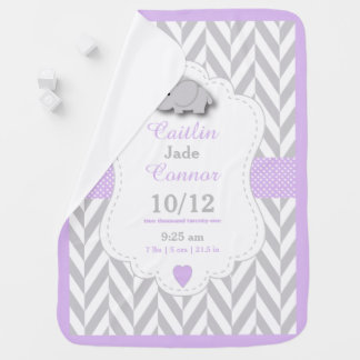 Baby Lavender Elephant Birth Keepsake Design Stroller Blanket