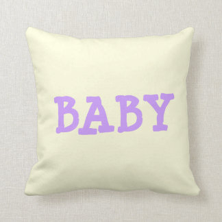 BABY Light Purple Lettering on Pale Yellow Pillow