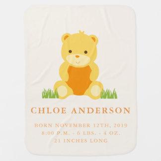 Baby Lion Birth Announcement Fleece Baby Blanket