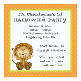 """Baby Lion First Halloween Party 5.25"""" Square Invitation Card"""