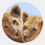 Baby lion love round sticker