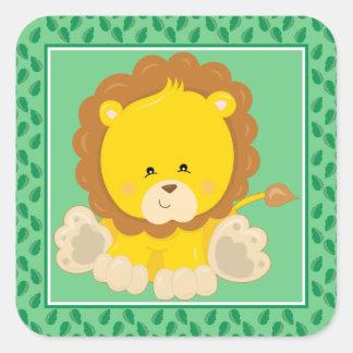 Baby Lion | Safari Animals Party Square Sticker