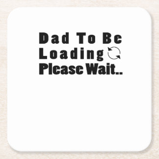 Baby loading couple maternity dad to be square paper coaster