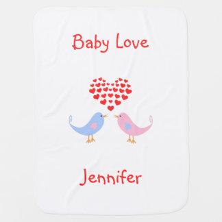 Baby love birds custom text name baby blanket