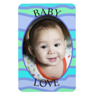 Baby Love Blue striped  Personalized Magnet