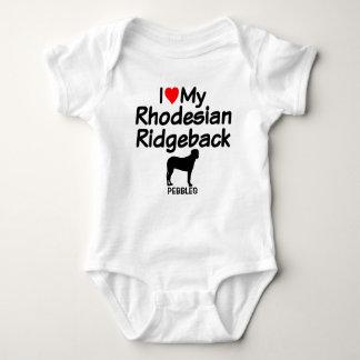Baby Loves Rhodesian Ridgeback Dog Baby Bodysuit