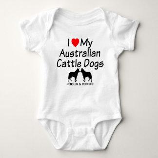 Baby Loves Two Australian Cattle Dogs Baby Bodysuit